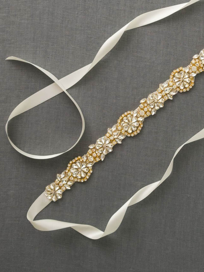 Gold and crystal bridal sash | Created by Davie + Chiyo on Etsy
