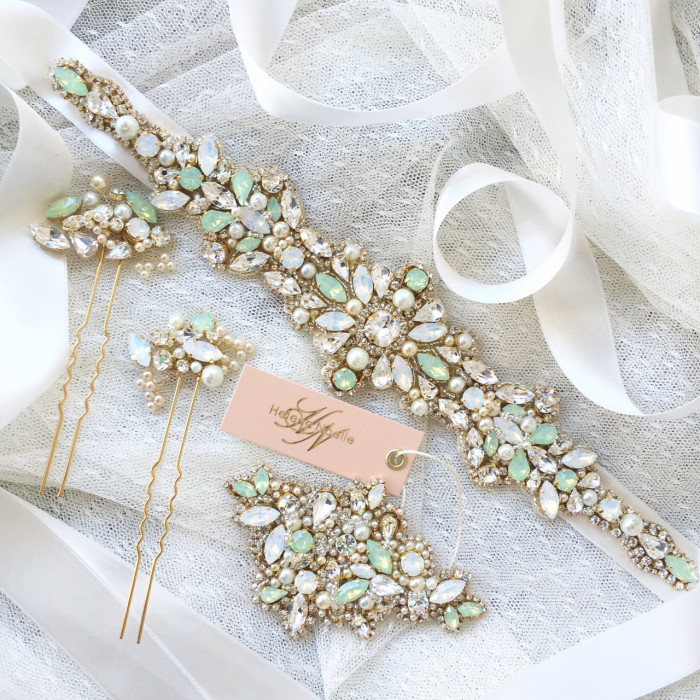 Mint and crystal bridal belt | Created by Helena Noelle Couture on Etsy