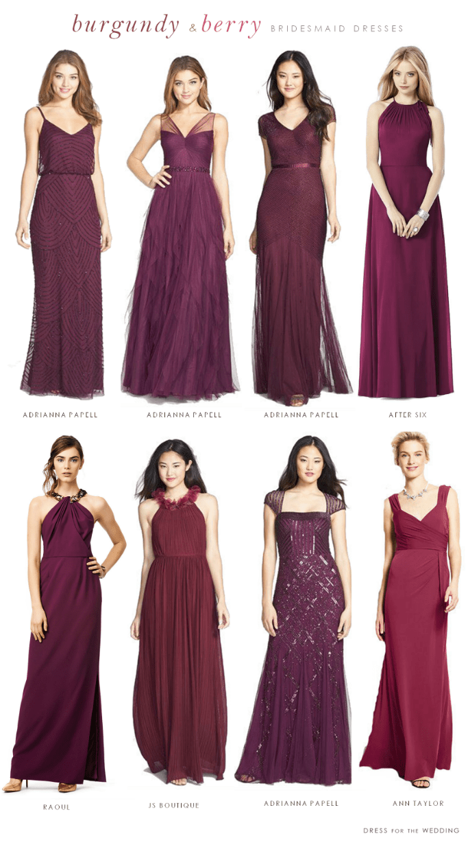Burgundy Mismatched Bridesmaid Dresses