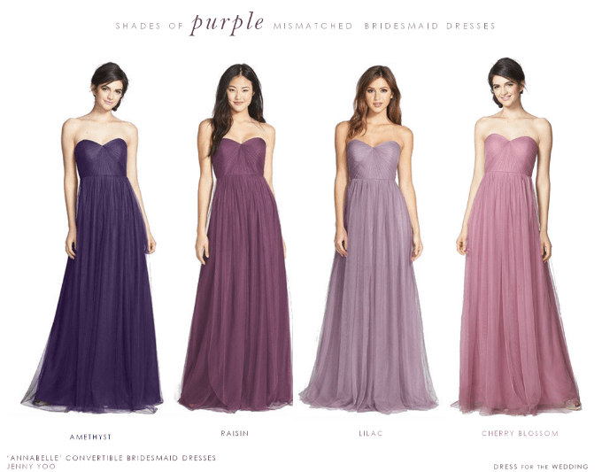 Ideas for how to mismatch purple bridesmaid dresses