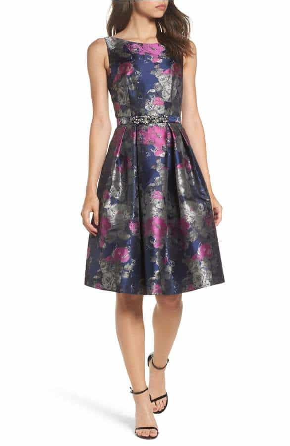 Navy Blue and Pink Brocade Dress