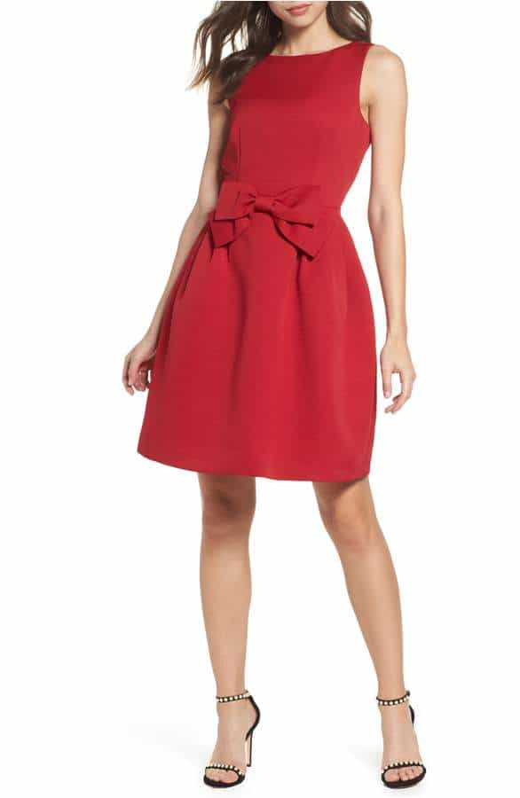 Cute Red Party Dress with Bow