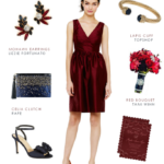 Garnet red bridesmaid dress