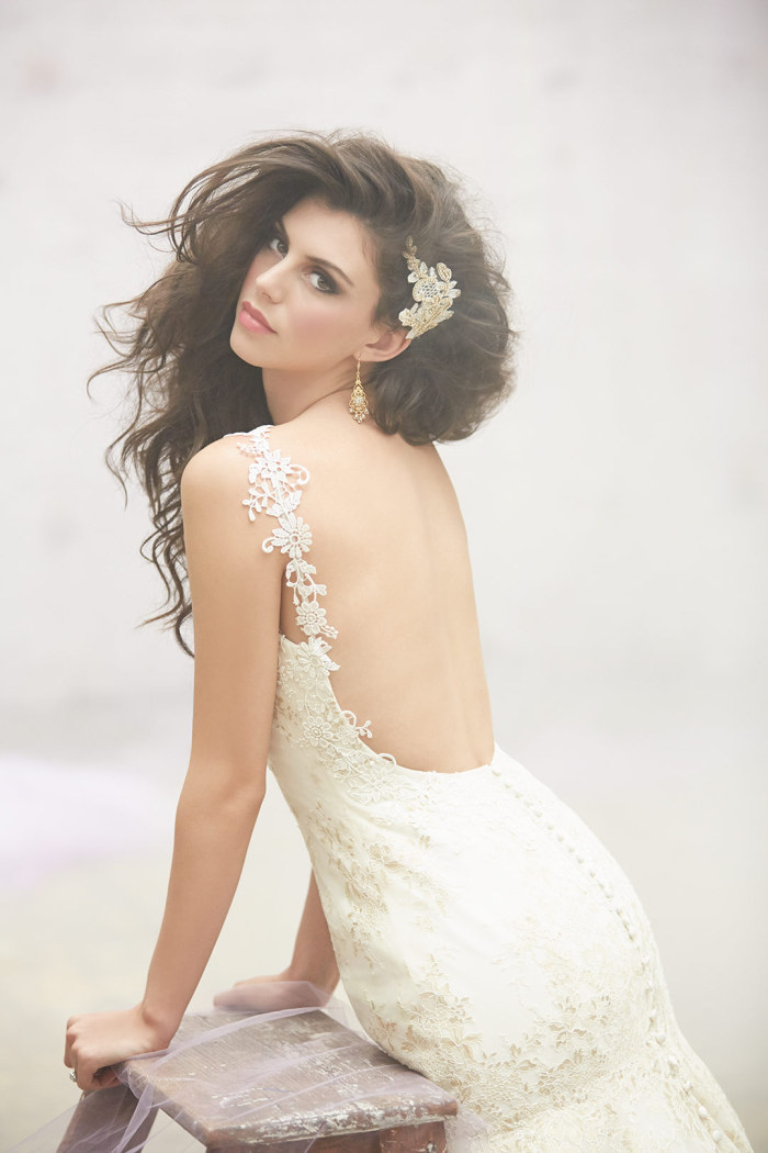 Madison James Wedding Gown with Gold thread detail.