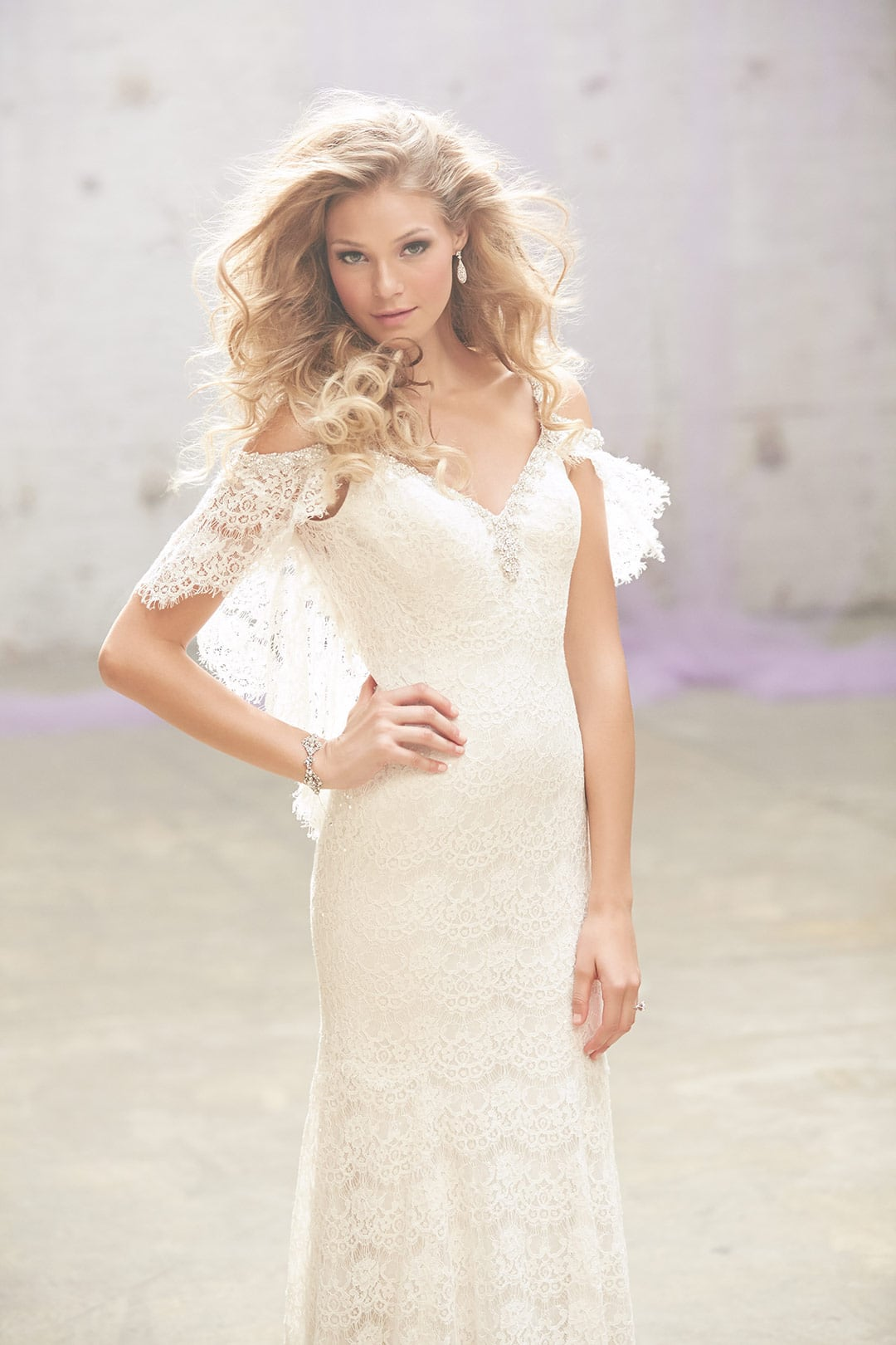 bridal gown with flutter sleeves