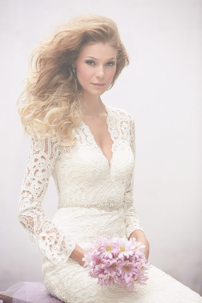 Long sleeve lace wedding dress MJ112 by Madison James
