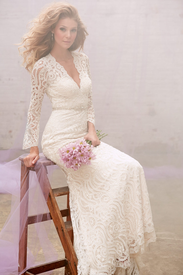 lace v neck wedding gown