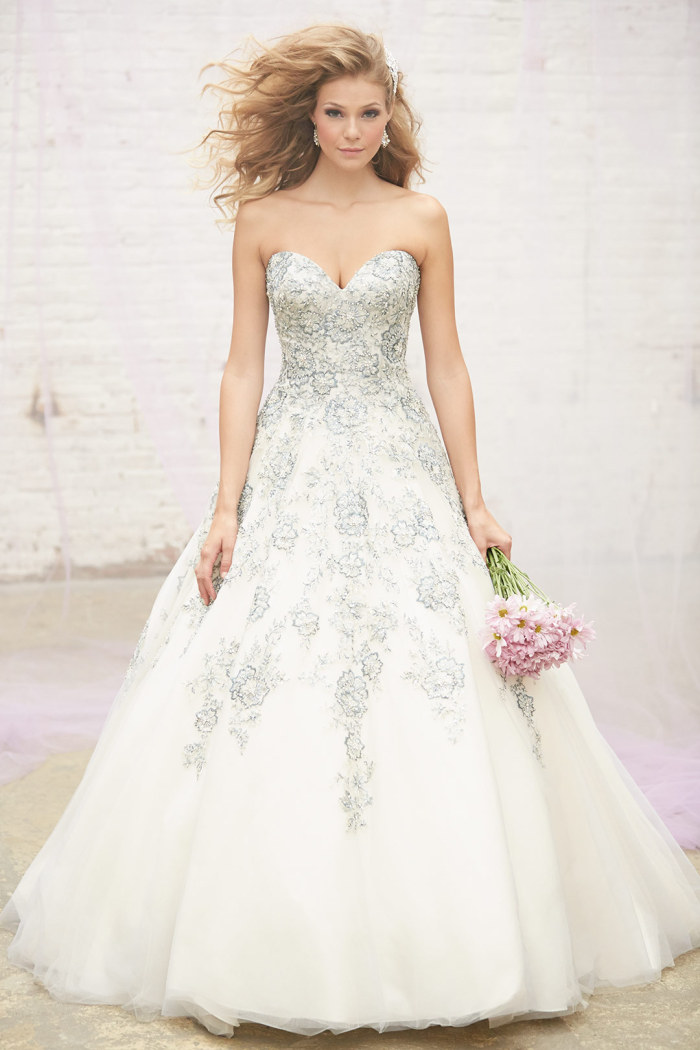 Poweder blue embroidered wedding gown