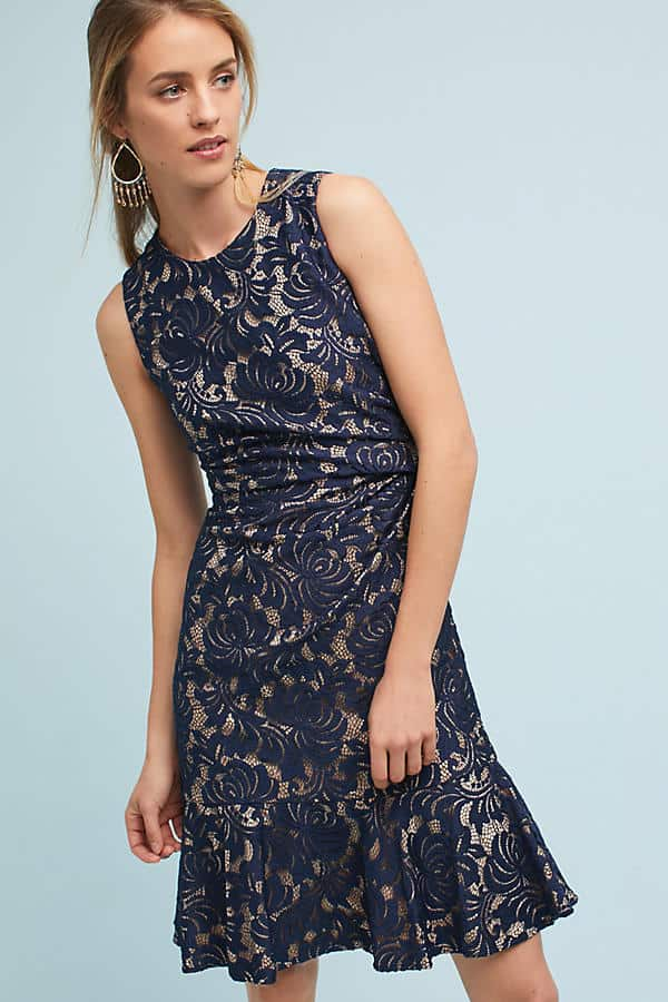 Navy Blue Lace Dress for a Late Fall Wedding