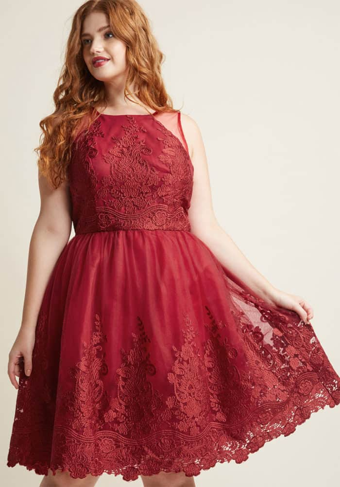 Red Lace Dress for Fall by ChiChi London