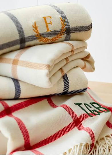 Personalized blankets for holiday gifts