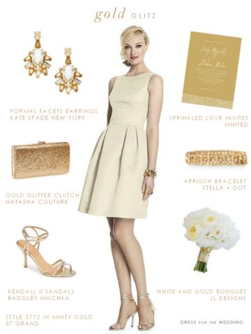 pretty gold bridesmaid dress