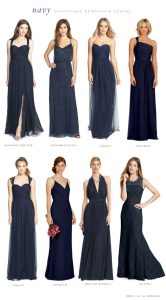 Mismatched Navy Blue Bridesmaid Dresses