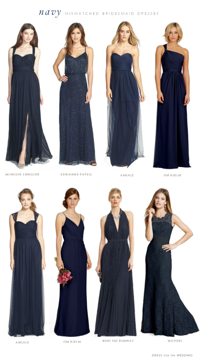 navy blue mismatched bridesmaid dresses