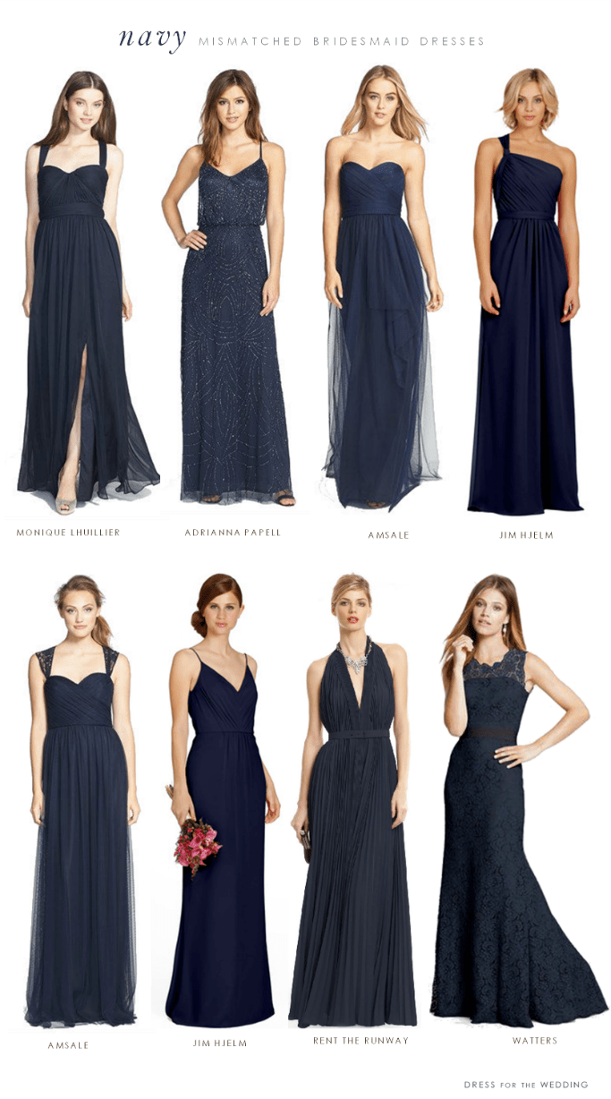 Mismatched bridesmaid dresses in navy blue ombrellifo Gallery