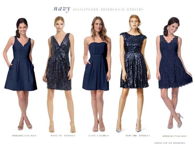 short navy blue mix and match bridesmaids dresses