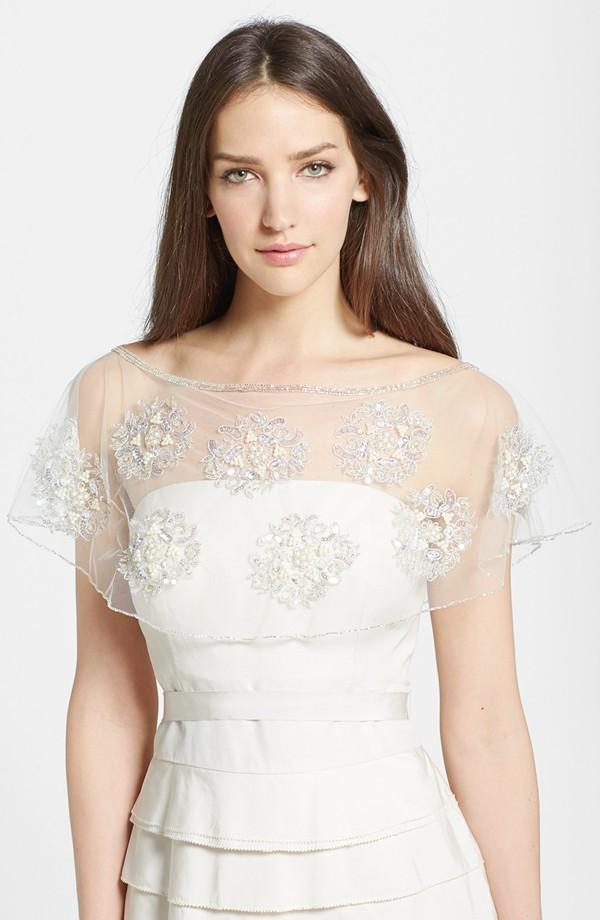 embellished capelet for a bride