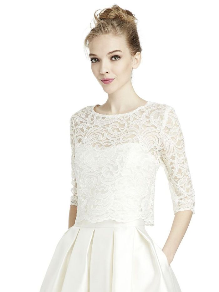crop top lace 3/4 wedding dress topper