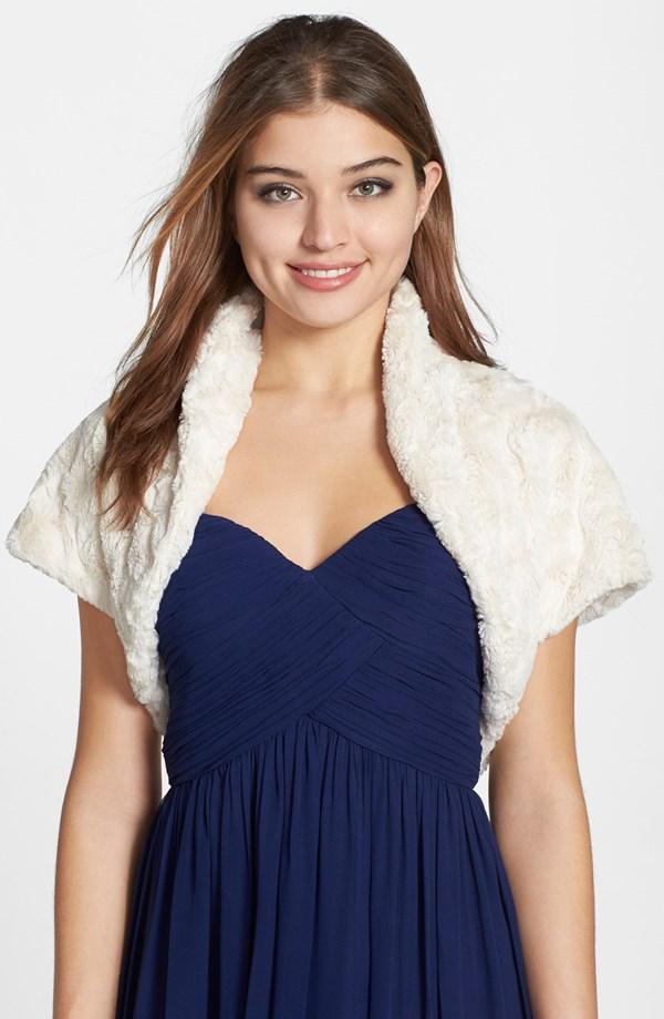 Faux fur bolero for a wedding
