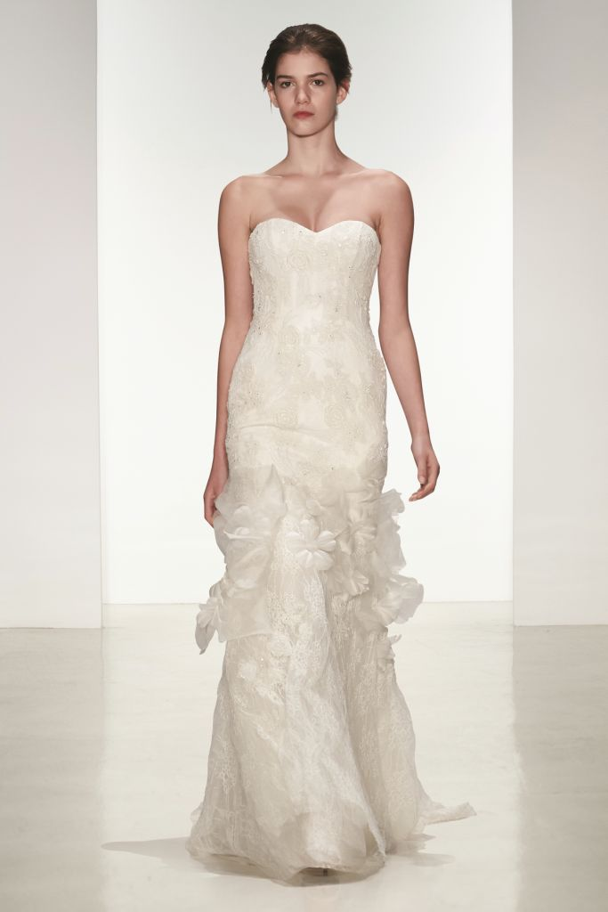 Christa Amsale corded lace strapless wedding dress