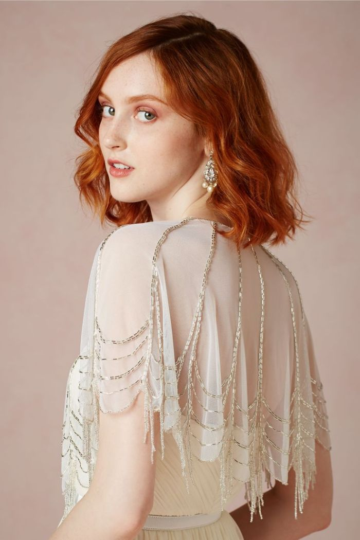 Embellished cape for a bride from BHLDN