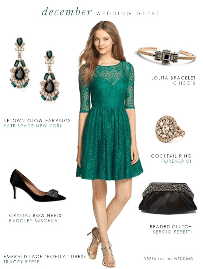 Green Dress for a December Wedding Guest. Wondering what to wear to a winter wedding
