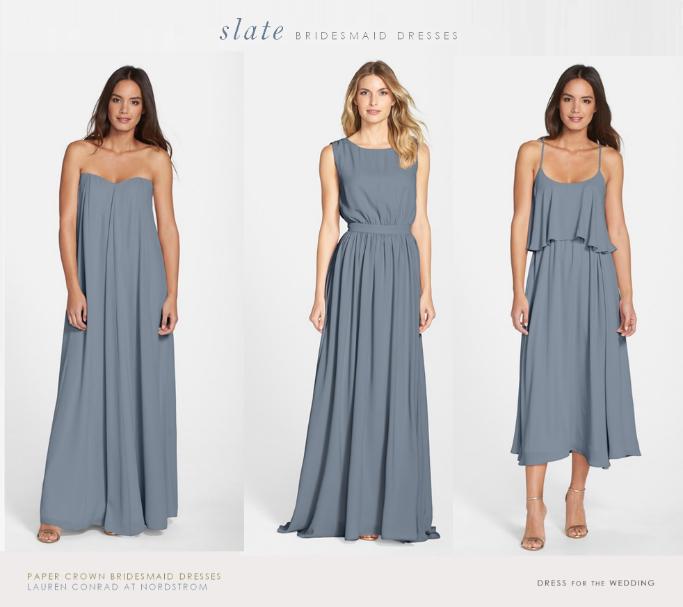 Slate gray blue mismatched bridesmaid dresses