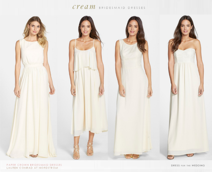 Lauren conrad 39 s bridesmaid dresses for paper crown for Different colored wedding dresses