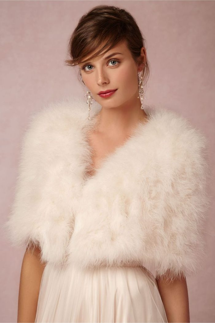 Sadie Feather wrap from BHLDN, perfect for the winter bride or one who ...