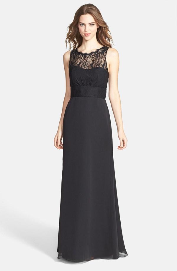 lace yoke black gown