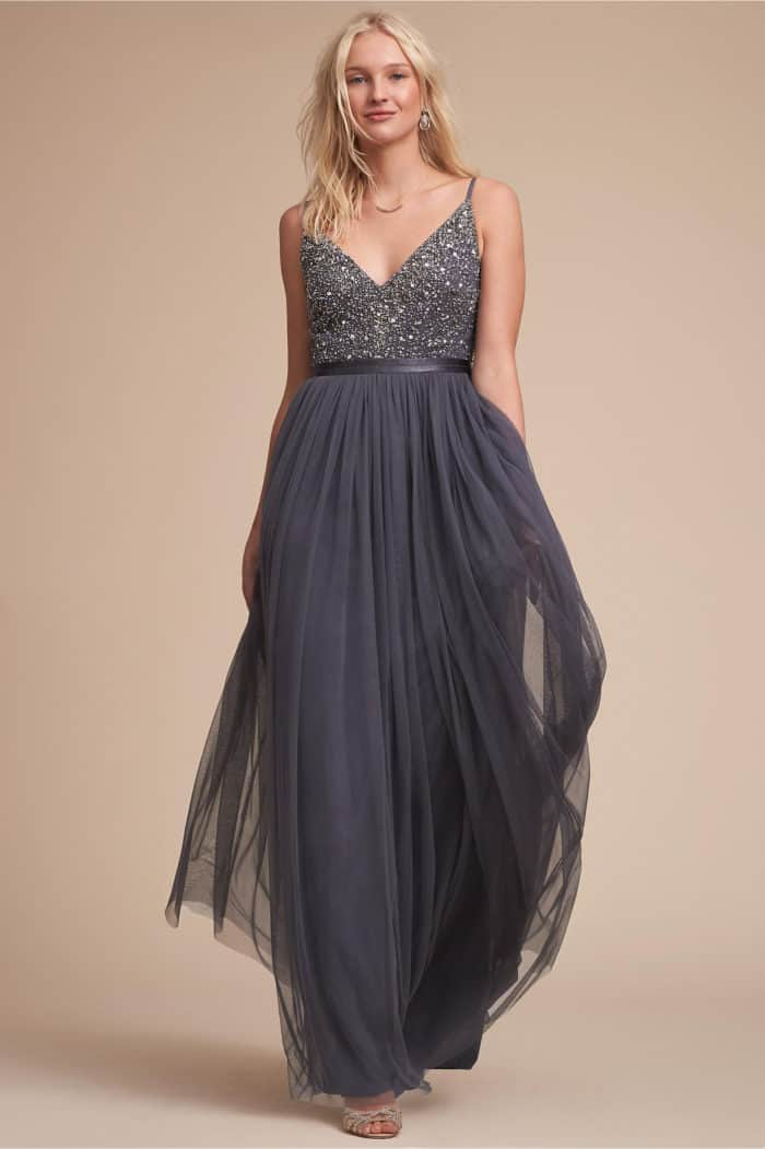 Gray Beaded Bridesmaid Dress