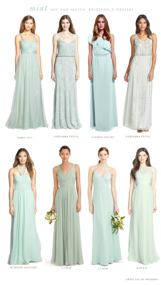 5a9b8ea149332 Mint Mismatched Bridesmaid Dresses