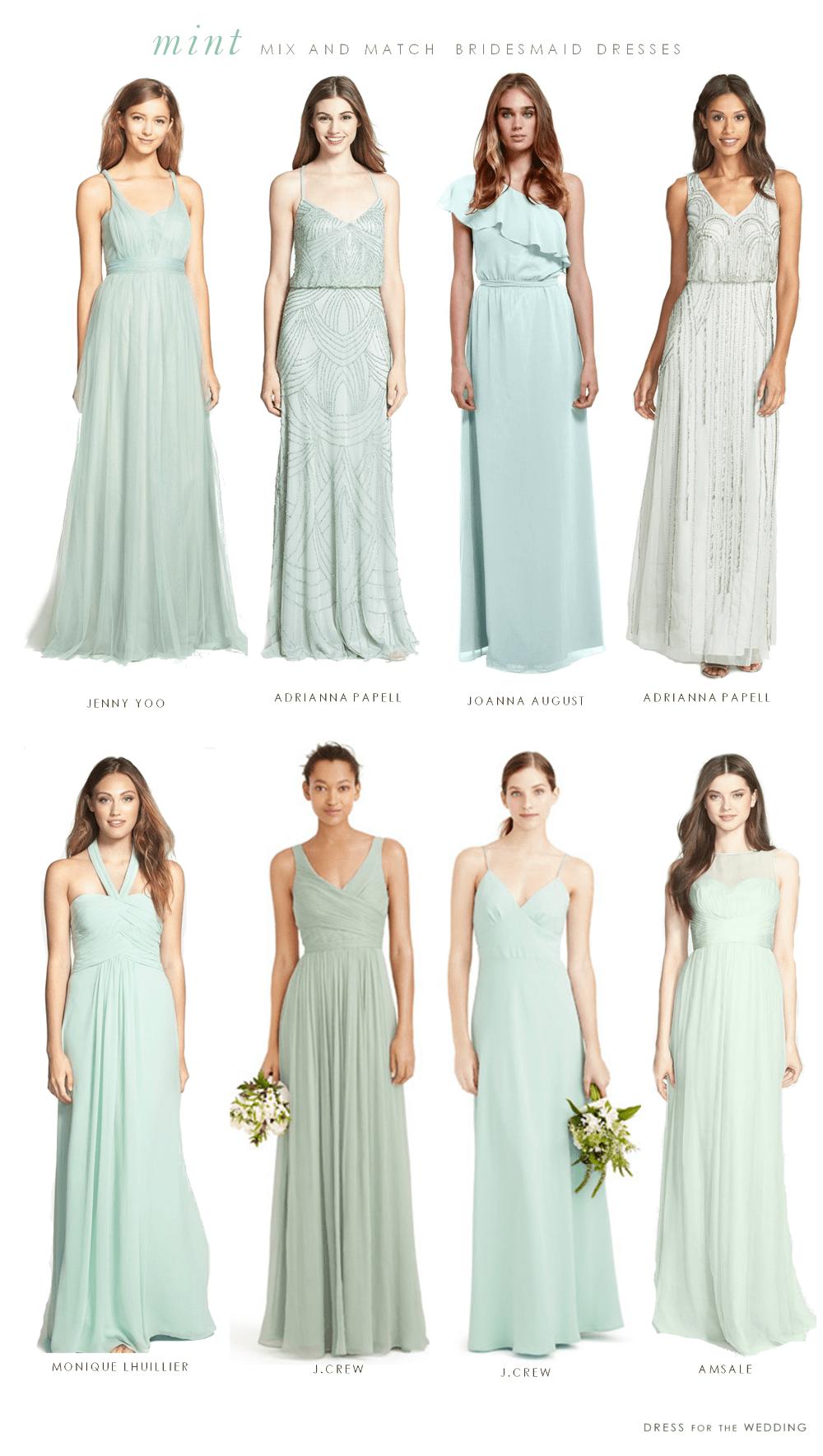 Mint mismatched bridesmaid dresses for Mint bridesmaid dresses wedding