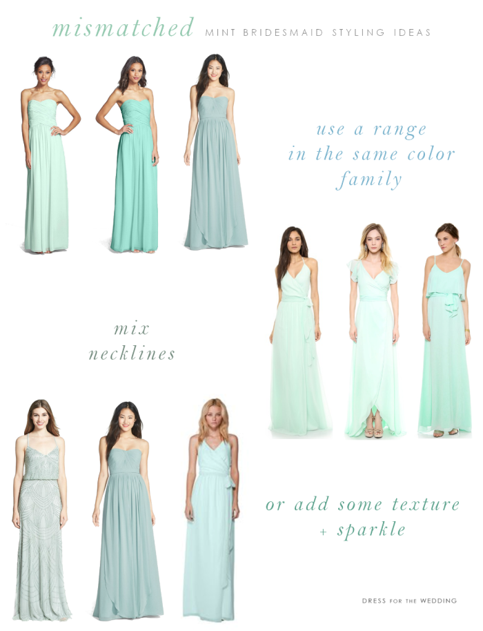 Mix and match mint bridesmaid dresses