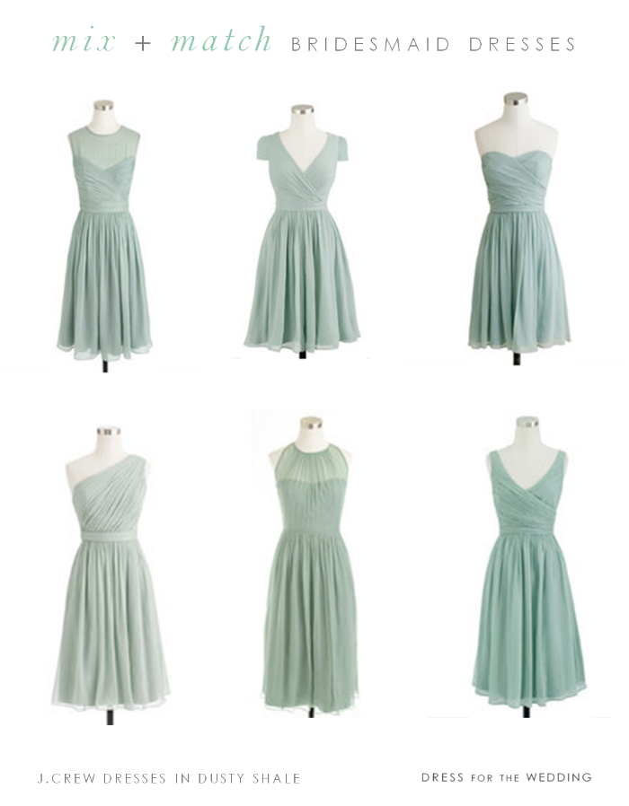 mix and match short mint bridesmaid dresses