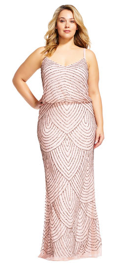 Plus Size Beaded Bridesmaid Dress in Blush
