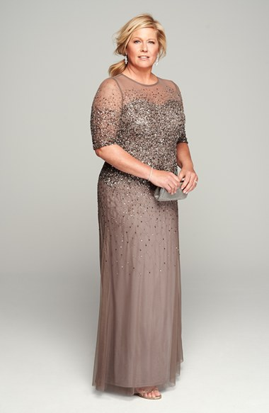 Silver beaded mother of the bride dress