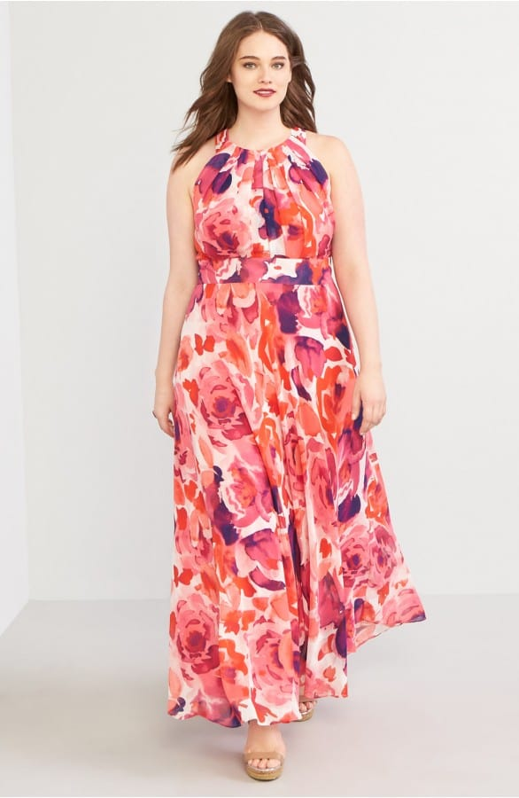 Plus Size Printed Maxi Dress for Guest of Wedding