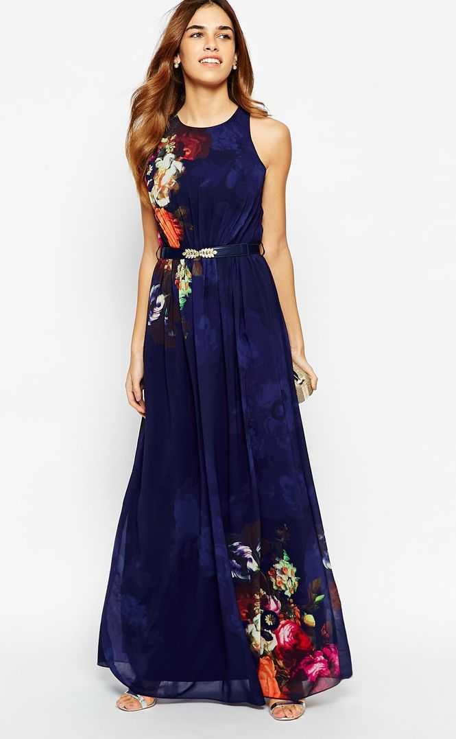 Maxi dresses for weddings for Navy blue maxi dress for wedding