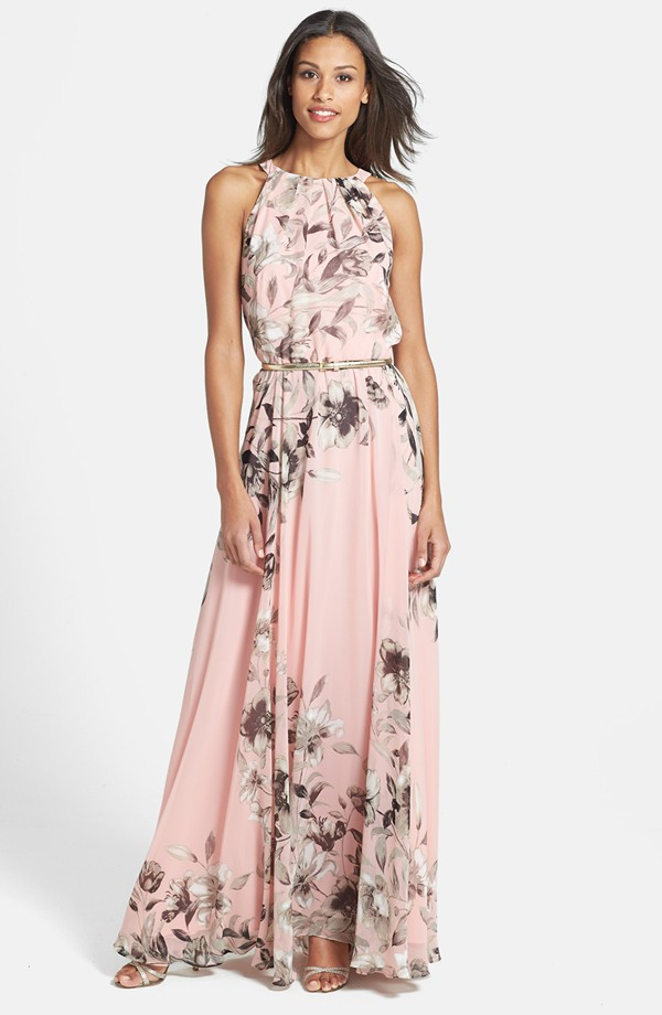 pink floral maxi dress for wedding