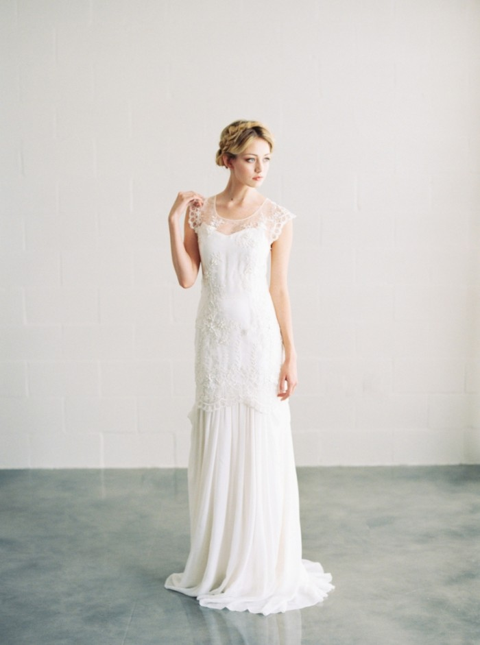 Ava drop waist lace bridal gown with cap sleeves
