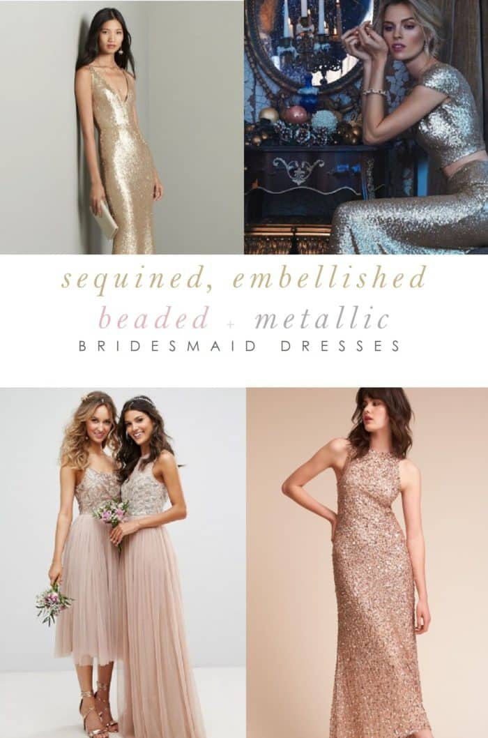 Beaded and Sequin Bridesmaids' Dresses