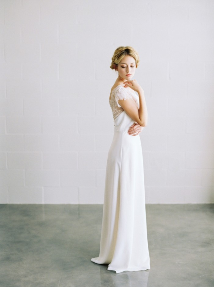 Chantilly lace wedding gown by Saint Isabel