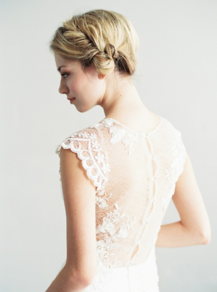 Delicate lace back wedding gown by Saint Isabel