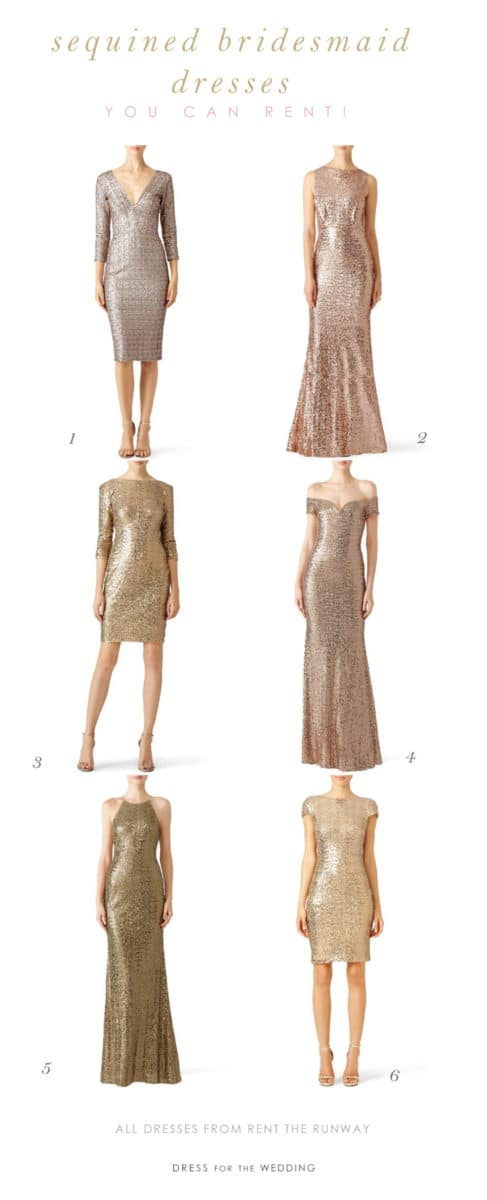 Gold Sequin Bridesmaid Dresses for Rent
