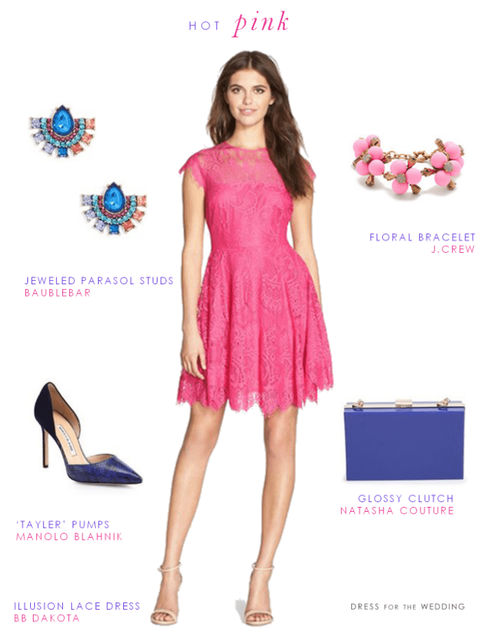 Hot pink lace dress