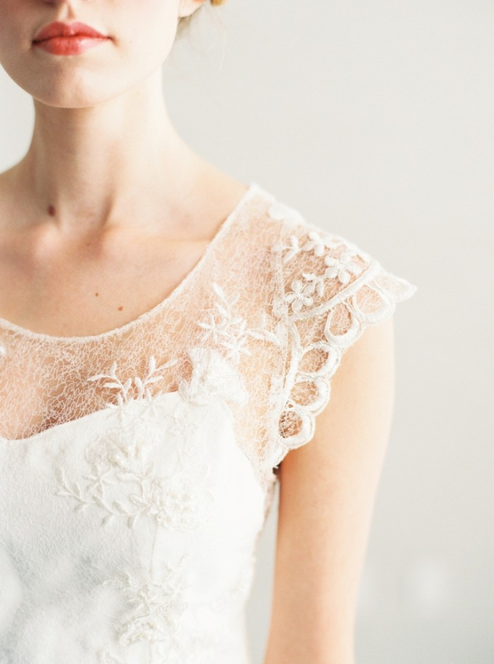Lace detail on cap sleeve handmade wedding gown