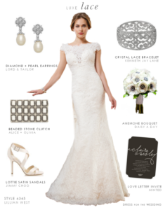 Lace Wedding Gown with Cap Sleeves by Lillian West