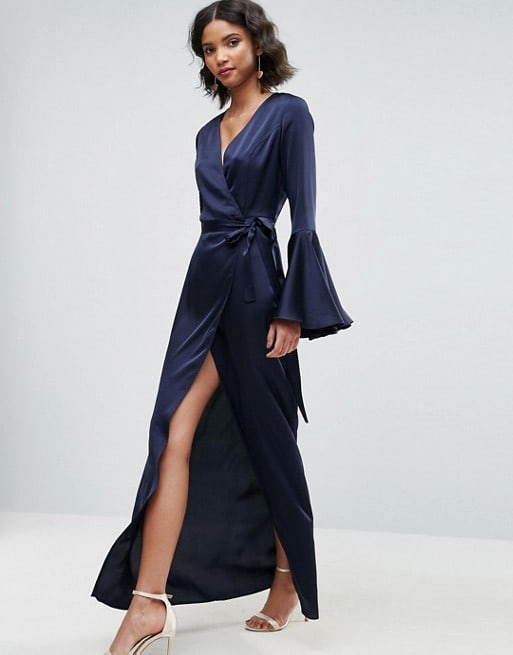 Navy Blue Long Sleeve Maxi Dress for Guest of a Wedding