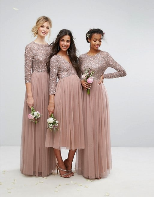 Long sleeve sequin and tulle bridesmaid dresses in extended sizes and maternity styles
